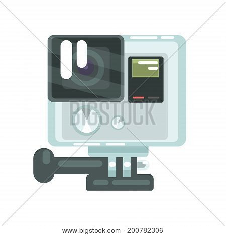 High definition photo video camera pro action. Colorful cartoon vector Illustration isolated on a white background