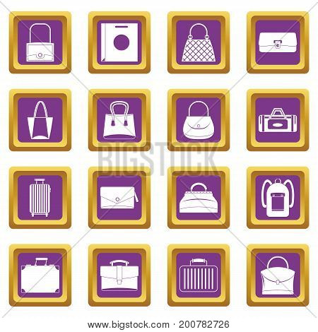 Bag baggage suitcase icons set in purple color isolated vector illustration for web and any design