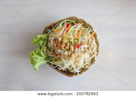 Papaya salad or Som Tam. Thai food.