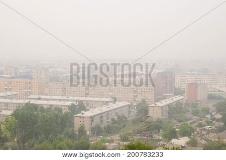Smog in a Siberian town in Russia.