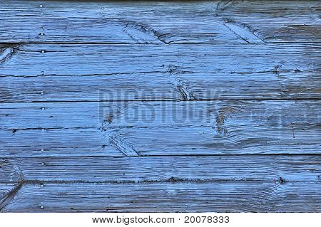 Old folk wooden background with horizontal boards painted in blue