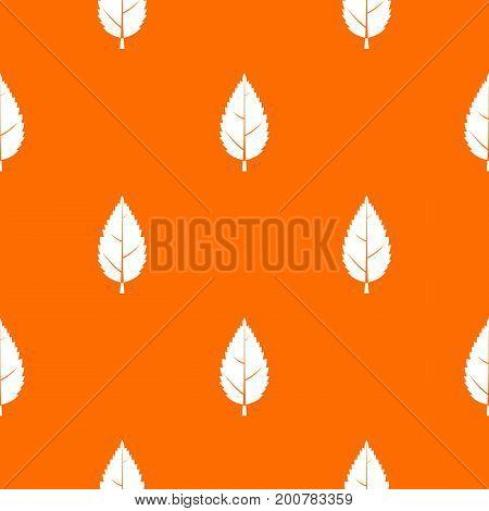 Hornbeam leaf pattern repeat seamless in orange color for any design. Vector geometric illustration