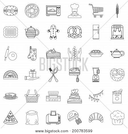 Eating icons set. Outline style of 36 eating vector icons for web isolated on white background