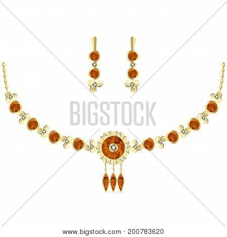 Amber jewel set. Necklace and earrings ornate with amber gemstone diamonds or zircons and gold. Vector illustration object isolated on white background