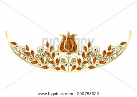 Golden diadem or crown with diamonds and amber decorated with floral pattern.. Object isolated on white background vector illustration