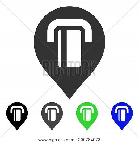 ATM Map Marker flat vector icon. Colored atm map marker, gray, black, blue, green pictogram versions. Flat icon style for web design.