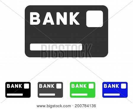 Bank Card flat vector illustration. Colored bank card, gray, black, blue, green icon versions. Flat icon style for graphic design.