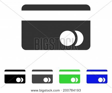 Banking Card flat vector pictogram. Colored banking card, gray, black, blue, green pictogram versions. Flat icon style for application design.