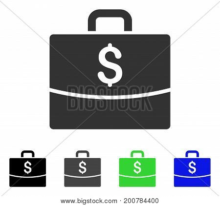 Business Case flat vector icon. Colored business case, gray, black, blue, green icon variants. Flat icon style for web design.
