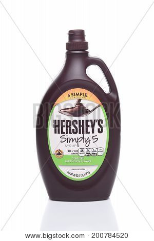 IRVINE CALIFORNIA - AUGUST 21 2017: Hersheys Simply 5 Syrup. Hersheys new replacement for their traditional Chocolate Syrup with all Non-GMO ingredients.