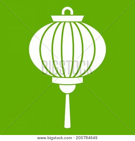 Chinese lantern icon white isolated on green background. Vector illustration