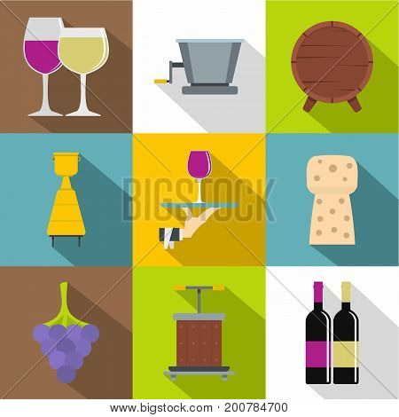 Wine shop icons set. Flat set of 9 wine shop vector icons for web with long shadow