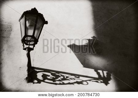 Prague Czech Republic: Not a lighted iron lantern on the wall. From him on the wall pronounced shadow and outlines. the ornate pattern and ornament. Black and white photo.