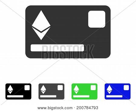Etherium Credit Card flat vector illustration. Colored etherium credit card, gray, black, blue, green pictogram versions. Flat icon style for application design.
