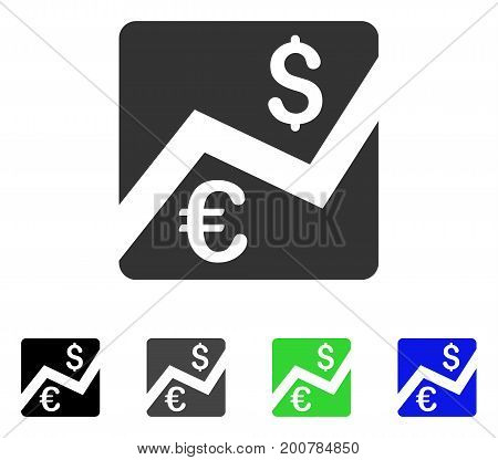 Euro Forex Market flat vector illustration. Colored euro forex market, gray, black, blue, green icon versions. Flat icon style for graphic design.