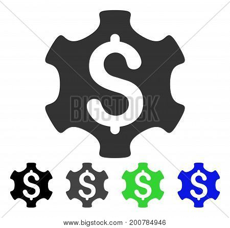 Financial Settings flat vector pictograph. Colored financial settings, gray, black, blue, green icon variants. Flat icon style for graphic design.