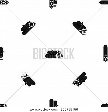 Wooden logs pattern repeat seamless in black color for any design. Vector geometric illustration