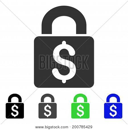 Pay Lock flat vector icon. Colored pay lock, gray, black, blue, green pictogram versions. Flat icon style for web design.