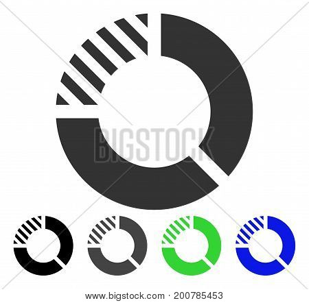 Pie Chart flat vector illustration. Colored pie chart, gray, black, blue, green pictogram versions. Flat icon style for web design.