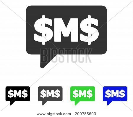 SMS Bubble flat vector illustration. Colored sms bubble, gray, black, blue, green pictogram variants. Flat icon style for application design.