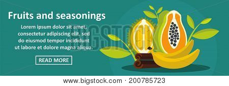 Fruits and seasonings banner horizontal concept. Flat illustration of fruits and seasonings banner horizontal vector concept for web