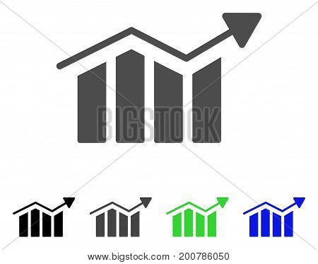 Bar Chart Trend flat vector icon. Colored bar chart trend, gray, black, blue, green pictogram variants. Flat icon style for web design.
