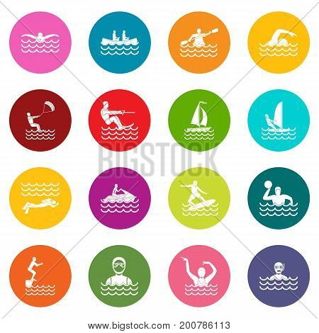 Water sport icons many colors set isolated on white for digital marketing