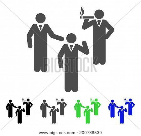 Discuss Standing Persons flat vector pictograph. Colored discuss standing persons, gray, black, blue, green pictogram variants. Flat icon style for application design.