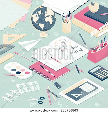 Back to school: desktop with school supplies and a digital tablet education and learning concept