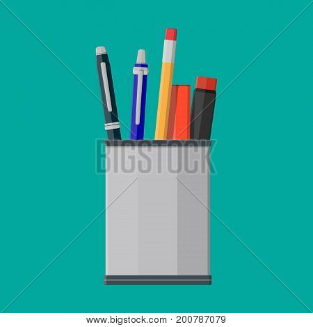 Pens, pencil in holder. Ballpoint pen, pencil with rubber eraser and cup. Case for felt pen. Office supply and stationery set. Vector illustration in flat style