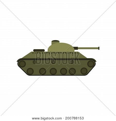 Vector the flat military tank with a gun Flat vector illustration isolated on white background