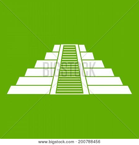 Ziggurat in Chichen Itza, Yucatan icon white isolated on green background. Vector illustration