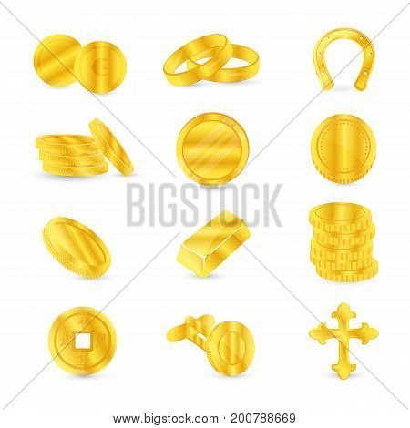 Set of gold coins and gold items: cufflinks, jewelry, religious accessories. Vector illustration isolated on white background.