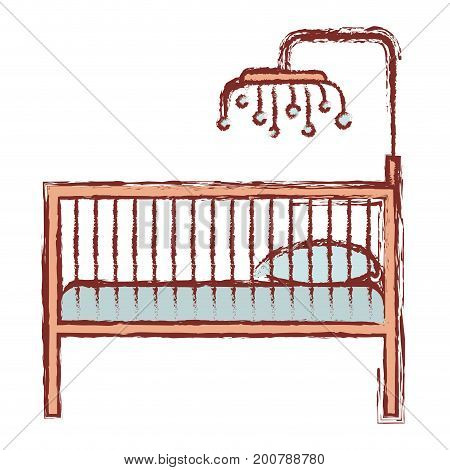 color silhouette with blurred contour of baby crib with wood railing vector illustration
