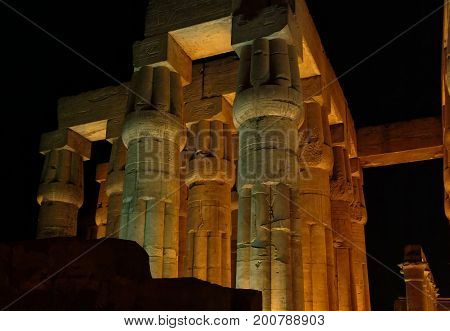 EGYPT, January 15, 2005: Night view Columns of an Ancient temple in Luxor, Thebes, UNESCO World Heritage Site, Egypt, North Africa, Africa