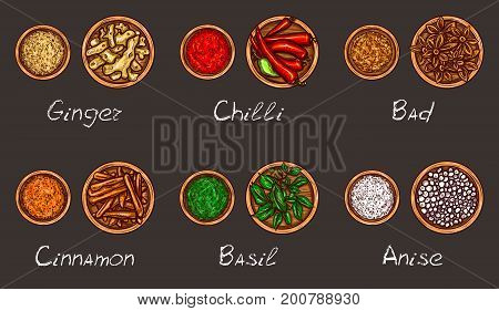 Vector illustration of a variety of spices and herbs in wooden bowls whole and ground on a black background, top view. Template, design element