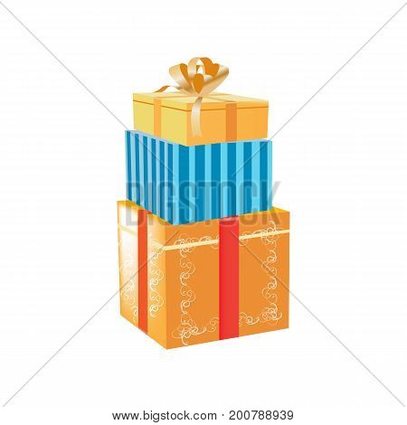 Set of holiday colorful gift boxes, packages and bags for gifts concept. Gift boxes of different colors and shapes, with beautiful ribbons in decor. Christmas gift box. Vector illustration isolated.
