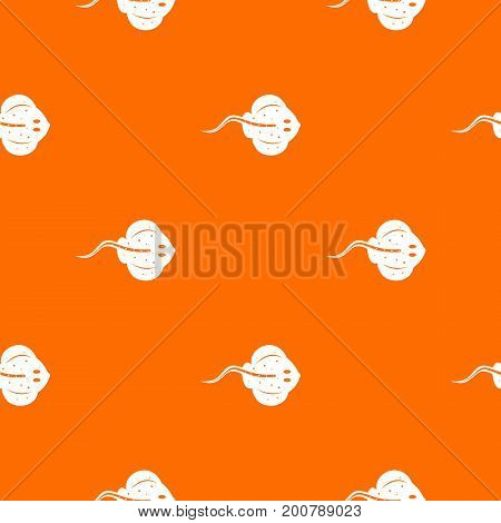 Stingray fish pattern repeat seamless in orange color for any design. Vector geometric illustration