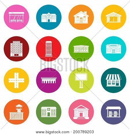 City infrastructure items icons many colors set isolated on white for digital marketing