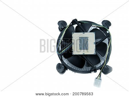 image of a CPU and cooling fan with heatsink on white background