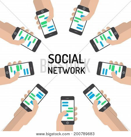 Design concept of the banner on the theme of human communication in social networks. The hands of the people who are holding the smartphone in a circle.