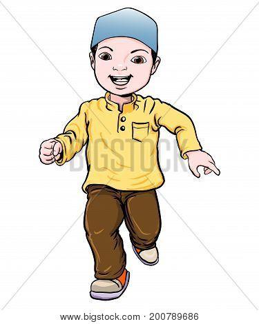 Happy Muslim boy make running. Brown trousers yellow shirt. Flat cartoon style. Vector Illustration