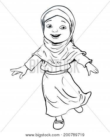Hand drawing Happy Muslim girl make running. aa Flat cartoon style. line Vector Illustration
