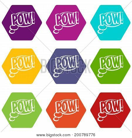 Pow, speech bubble icon set many color hexahedron isolated on white vector illustration
