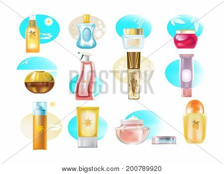Set of realistic types of cosmetic products, creams, skin care products, gels, for support of form, plastic, glass bottles and fl cons. Beach cosmetics. Sun protection. Vector illustration isolated.