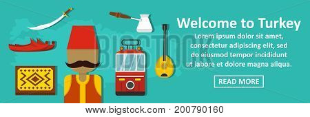 Welcome to turkey banner horizontal concept. Flat illustration of welcome to turkey banner horizontal vector concept for web