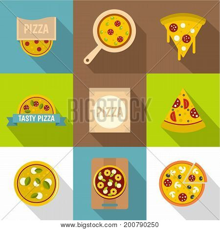 Pizza shop icons set. Flat set of 9 pizza shop vector icons for web with long shadow