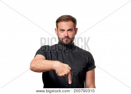 Man Is Pointing At A Subscription Button Down Below