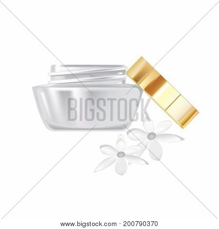 Realistic cosmetic products concept. Fragrant cosmetics face cream, in glass jar, with plastic lid with aromats fresh flowers. Care of female beauty. Vector illustration isolated on white background.