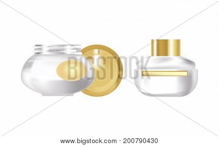 Realistic cosmetic products concept. Pair of fragrant face cream, in a beautiful transparent glass jar, with a plastic lid. Care of female beauty. Vector illustration isolated on white background.